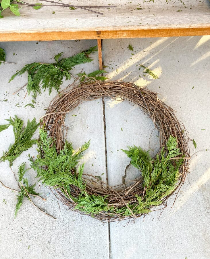 Needs a bit more work to make it a Christmas wreath!