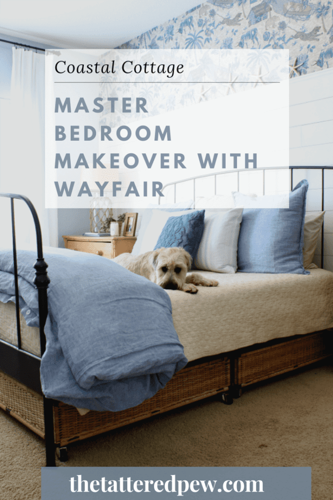 A coastal cottage master bedroom makeover with Wayfair.