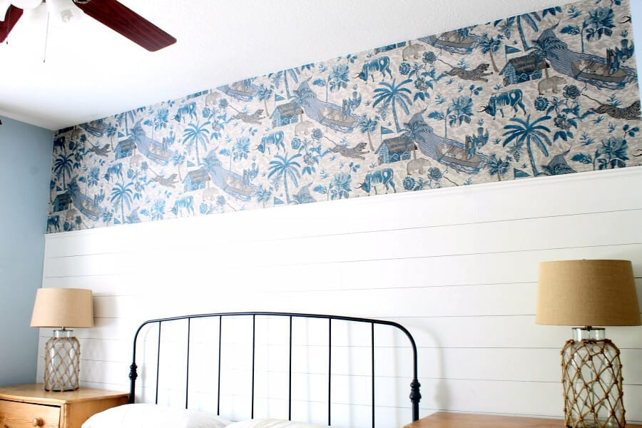After the wallpaper was added above our bed. If I can do it you can do it too!