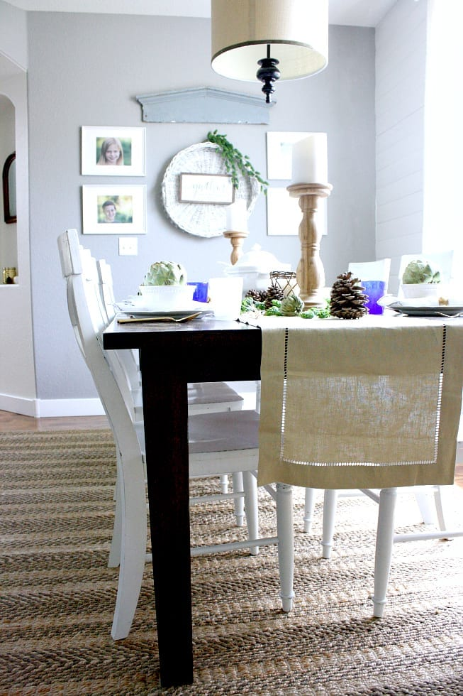 Natural, neutral and classy Autumn table with Pottery Barn runner.