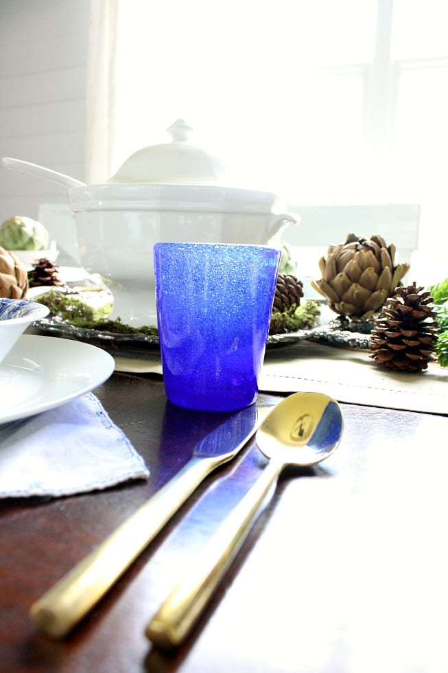 This blue glass steals the show on this Autumn table.