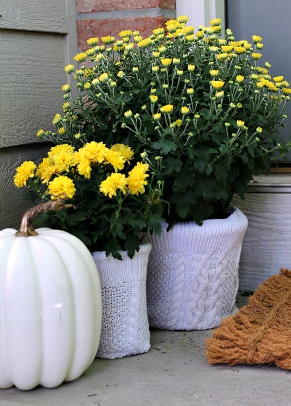Easy No Sew Sweater Flower Pot Covers