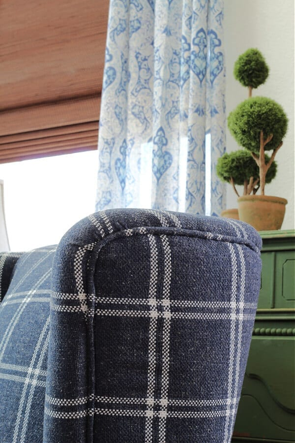 A gorgeous blue accent chair for our family room!