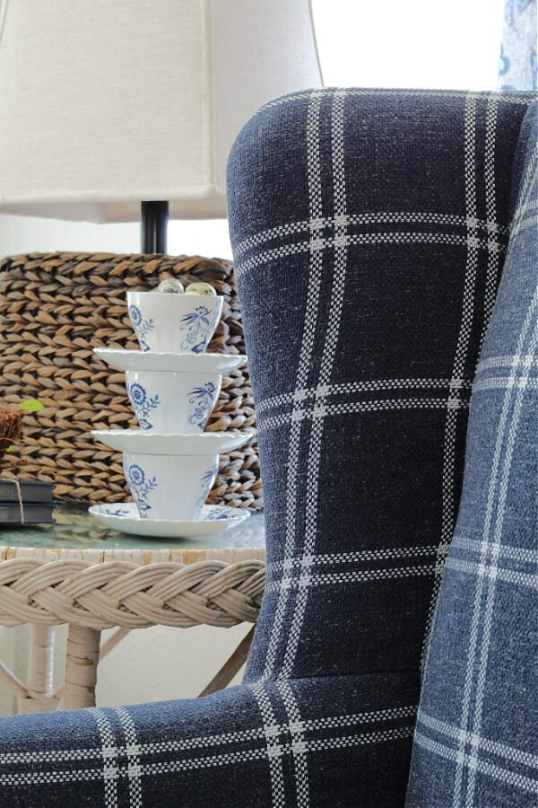 Plaid and blues on our new accent chair from Wayfair.
