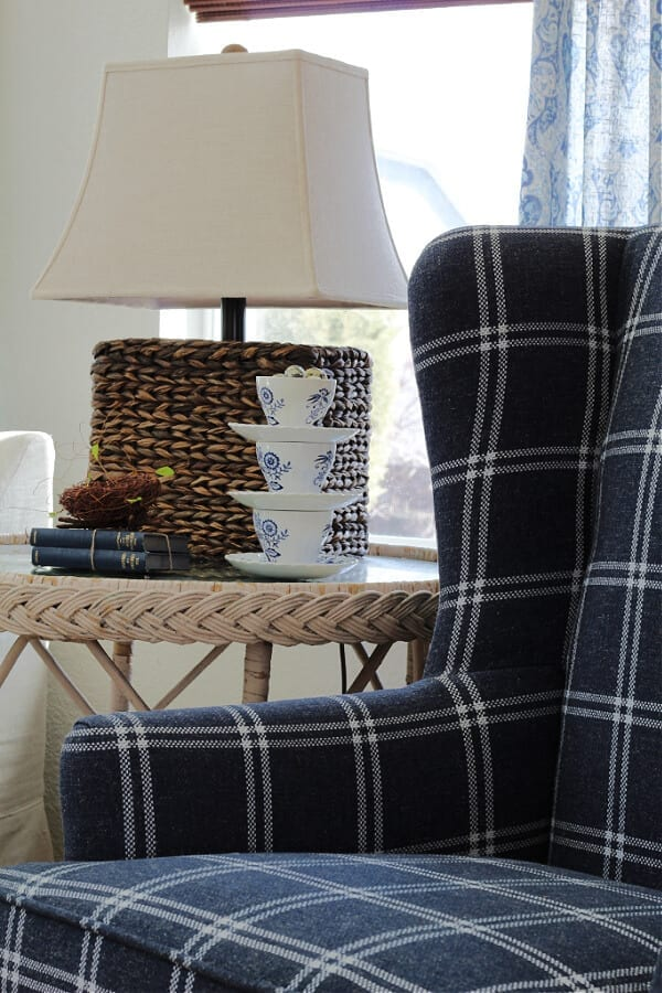 Polyester and plaid makes for the perfect combo on this wingback chair!