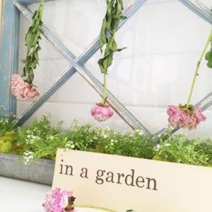 Painted window peonies garden