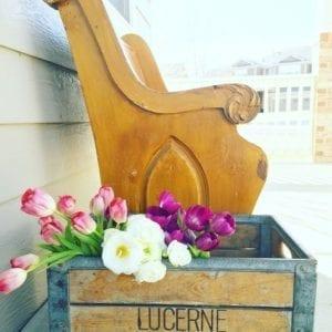 Pew vintage crate tulips porch