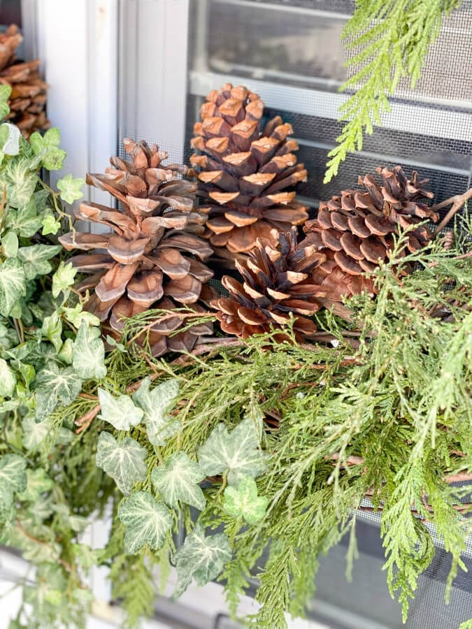 Pinecones make for the perfect accent to your Christmas wreath.