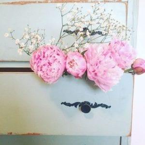 Pink peonies painted dresser