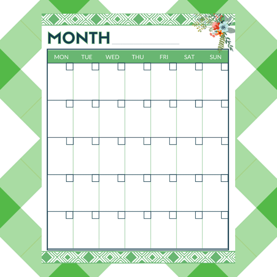 A monthly printable calendar page...as part of the planner pages.