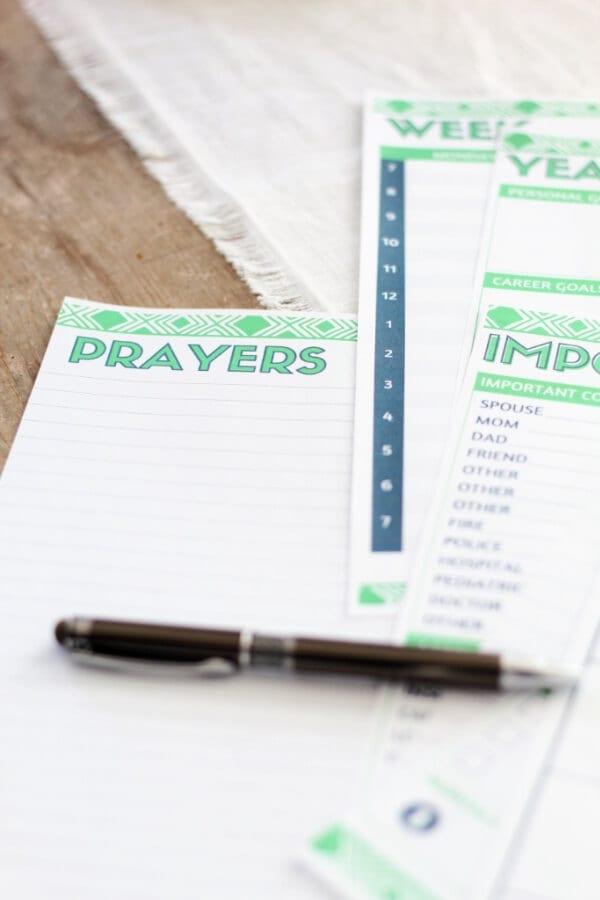 Free 2021 Printable Planner: prayers page