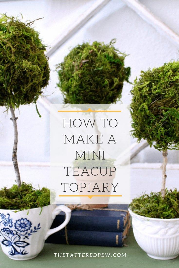 A fun way to make a mini teacup topiary.