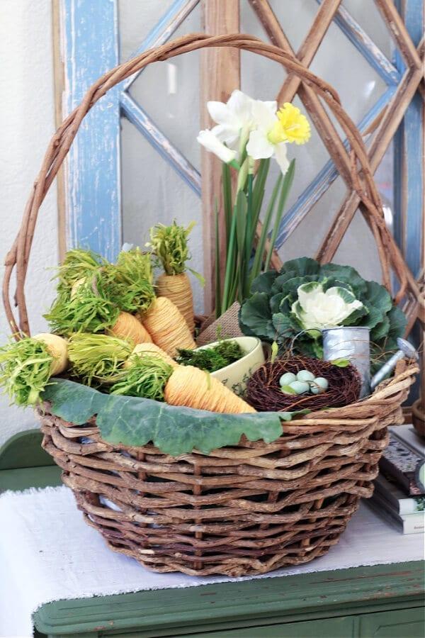 Pretty Spring décor in a basket!