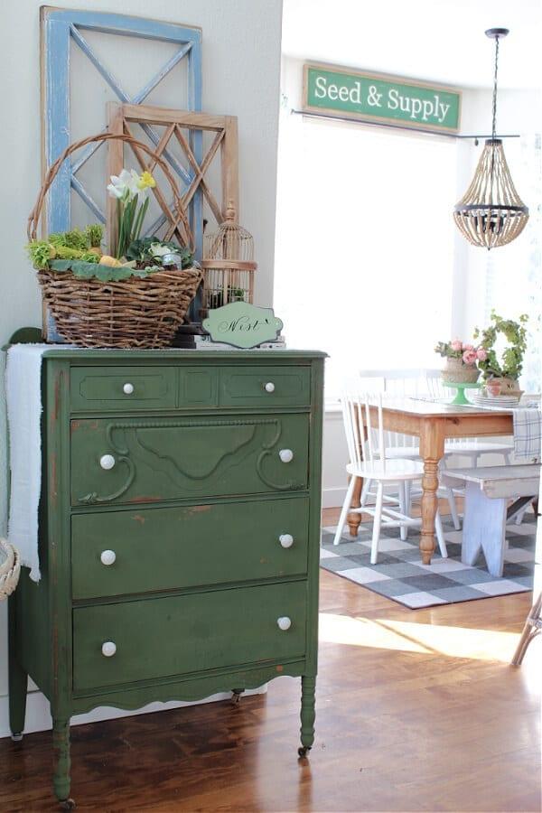 my favorite boxwood dresser all dressed up for Spring!