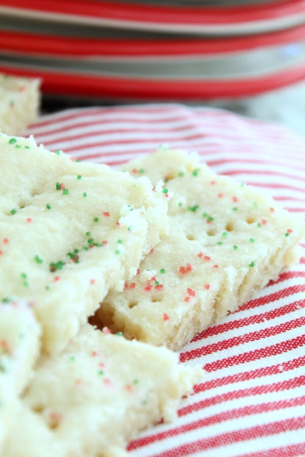 Quick and easy Christmas shortbread cookies with red and green sugar!