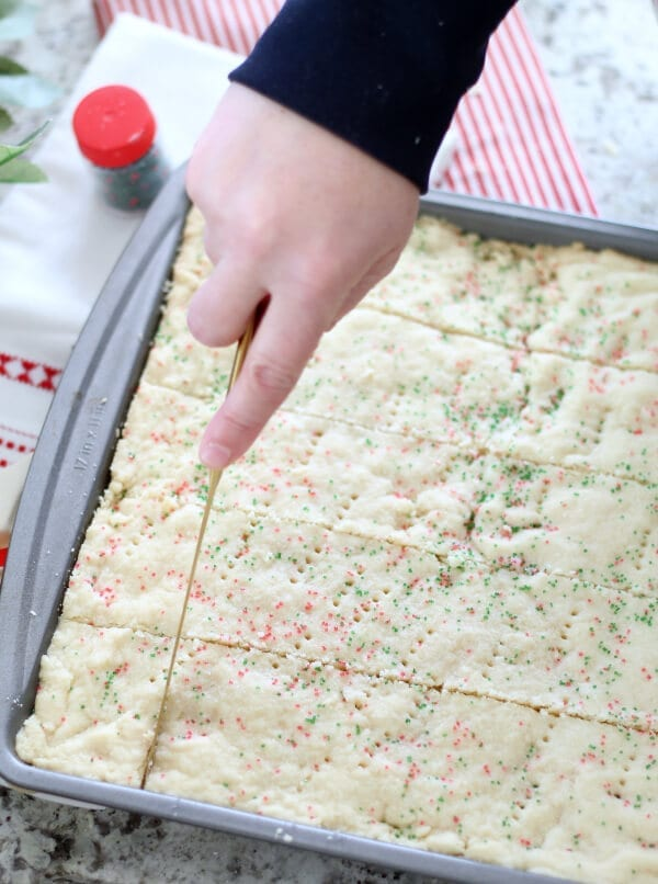 Don't forget to immediately cut your shortbread cookies when they come out of the oven!