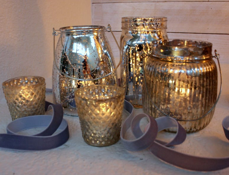 Mercury glass contianers for your Christmas mantel.