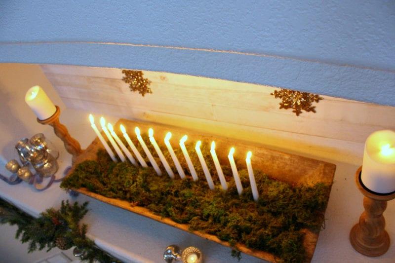 A dough bowl lit up for Christmas.
