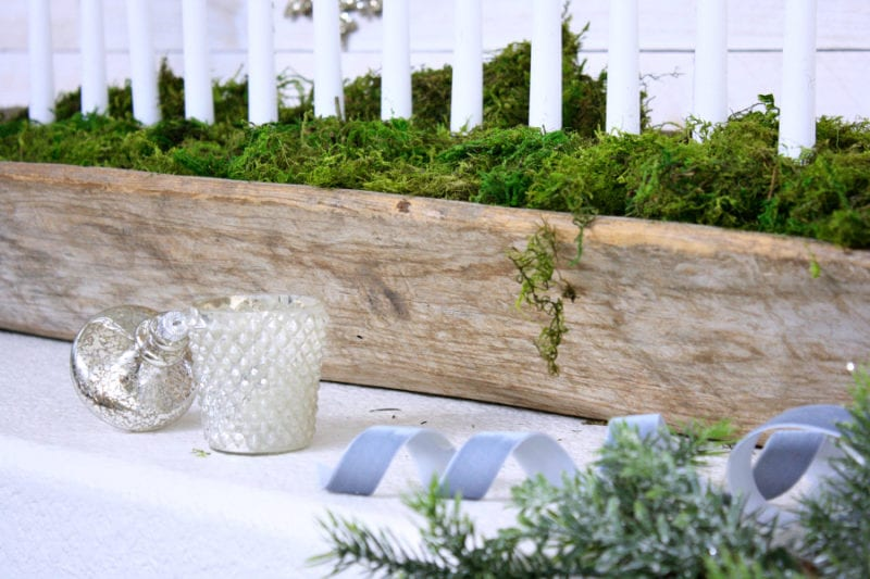 A rustic and elegant mantel for Christmas.