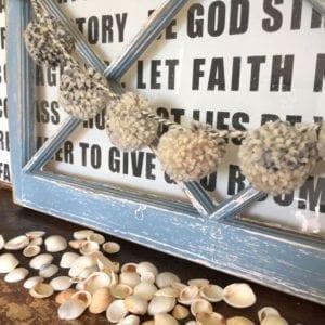 Sea shells poms window