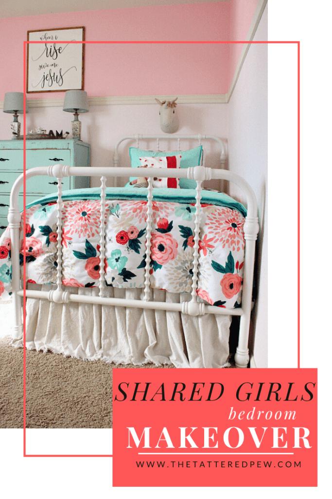 Adarling little girls' shared bedroom makeover on a budget!