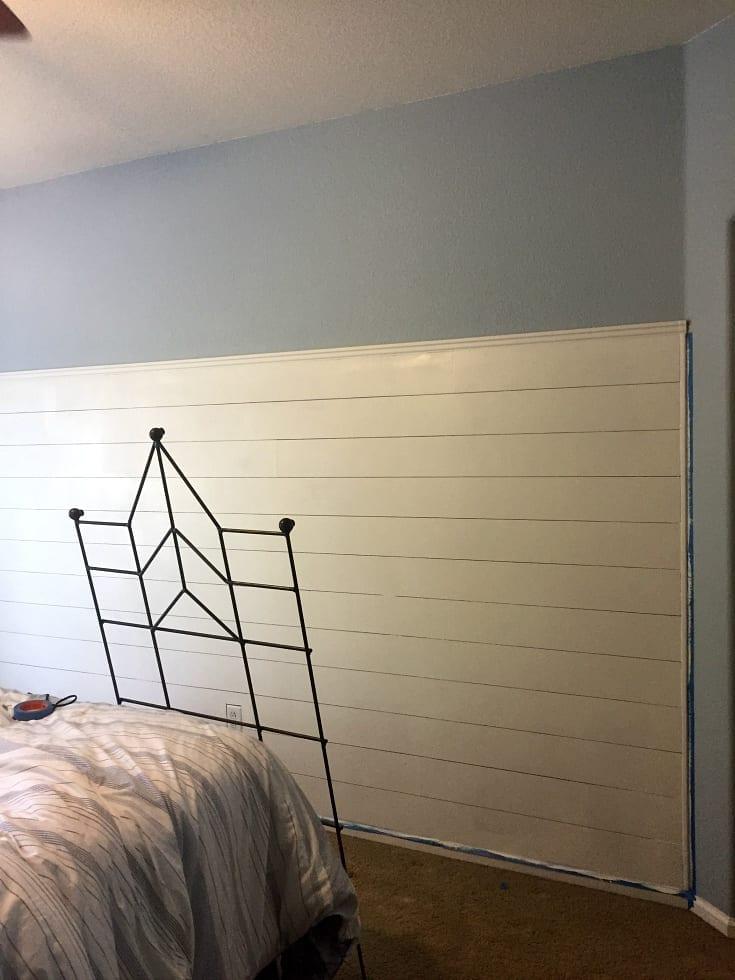 Shiplap wall in progress in our bedroom.