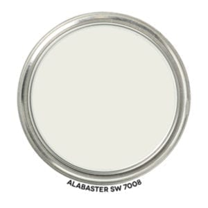 Our wall color throughout our home is Alabaster by Sherwin Williams