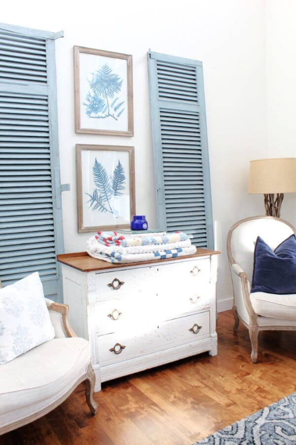Vintage shutters painted in Bergere milk paint from Miss Mustard Seed's European collection.