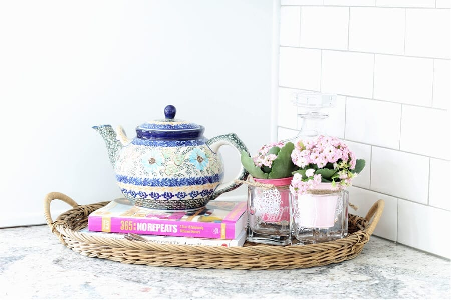 tea pots , books and flowers for Spring!