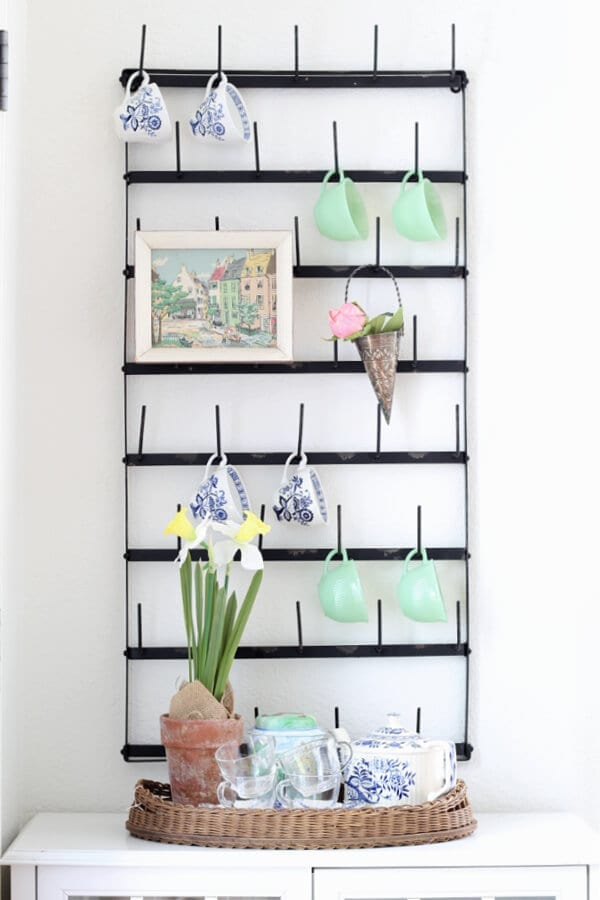 Have a mug rack? Then you will love these simple Spring decorating ideas for your kitchen.
