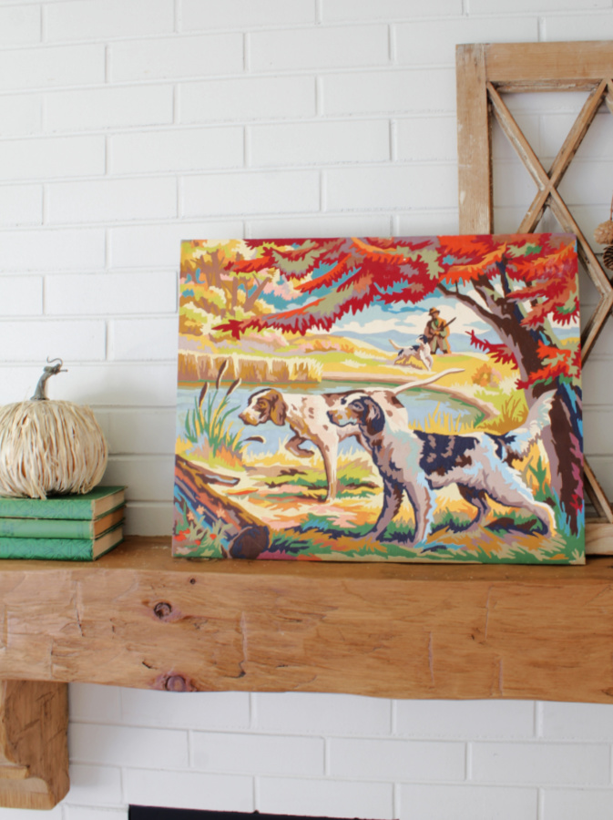 A paint by numbers becomes a colorful Fall statement piece on our mantel.