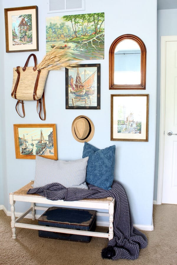 Adding wheat stems to a fun wall accent is a great way to welcome Fall to your bedroom.
