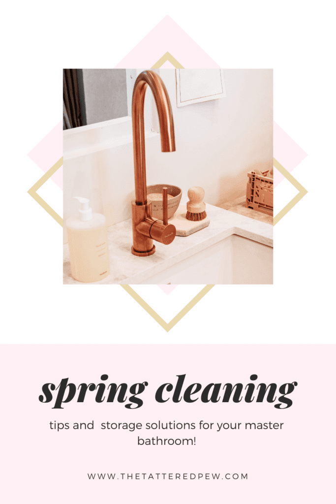 Tips and tricks for the best spring cleaning ideas and storage solutions for your mater bathroom. Shopping list included!