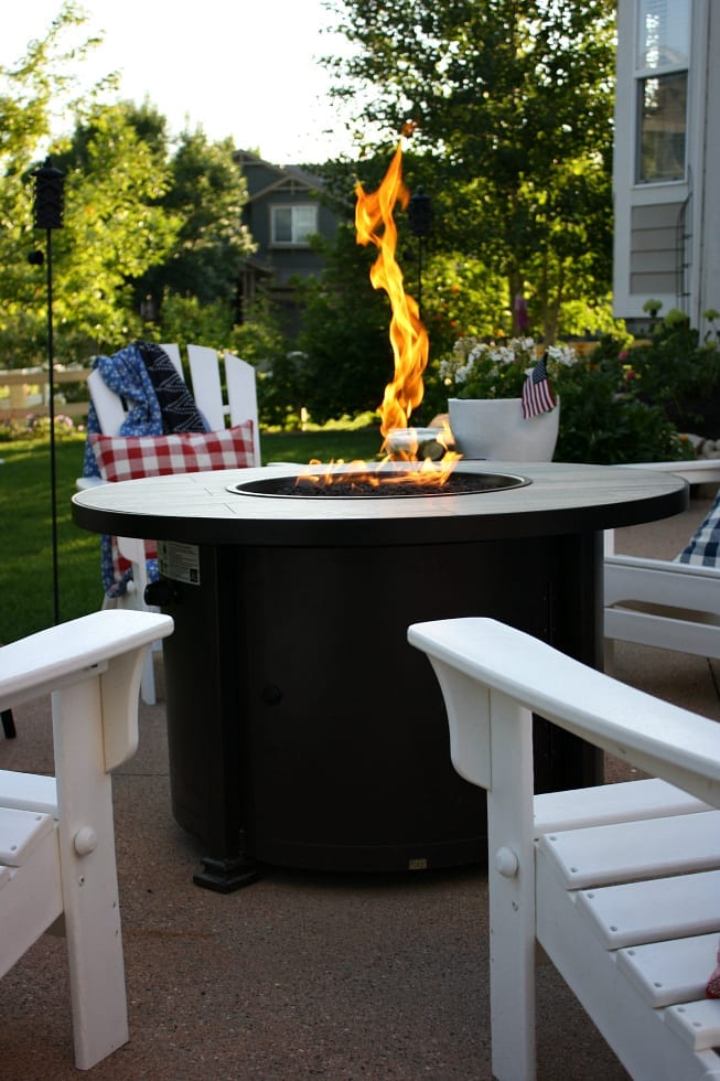 The perfect summer patio definitely includes a fire pit!