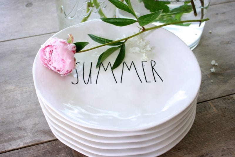 Peonies and Rae Dunn Summer plates!