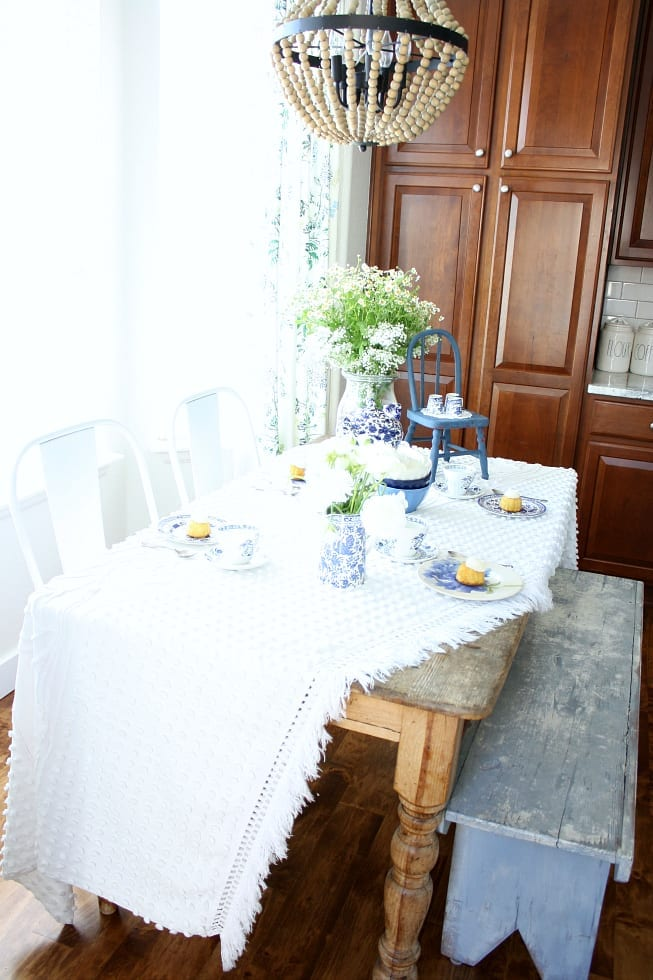 A blue and white style tea party in the kitchen!