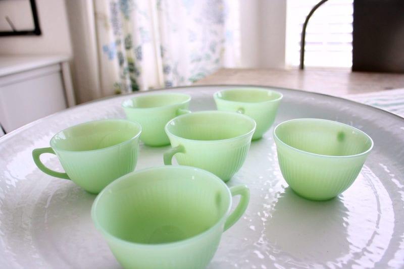 Vintage jadeite tea cups.