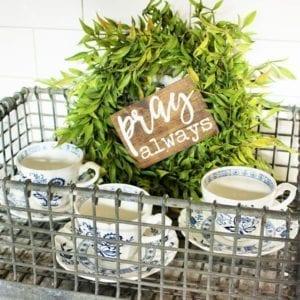 Tea cups metal milk crate wreath