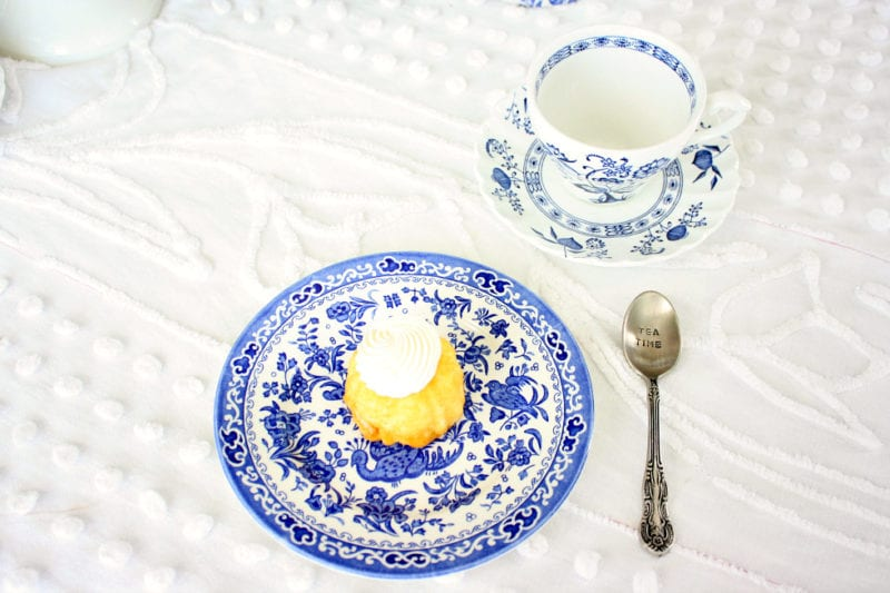 Blue and white plates and tea cups.
