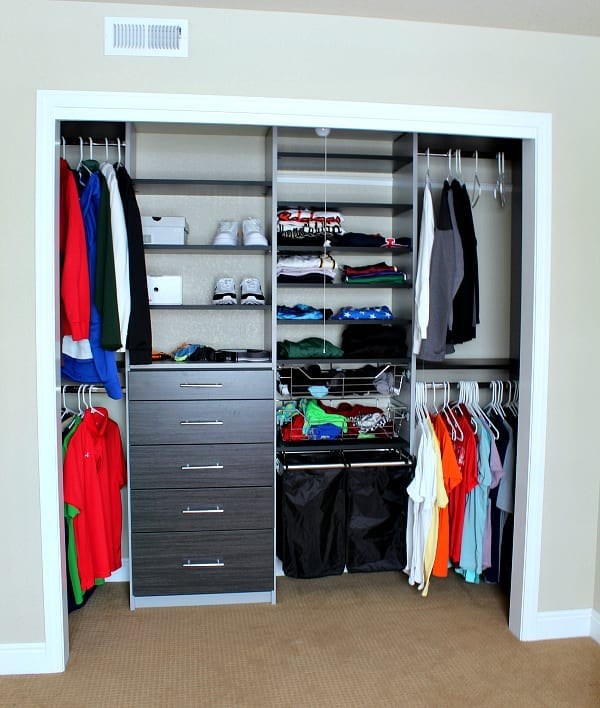 THe after; Teen boy closet makeover reveal.