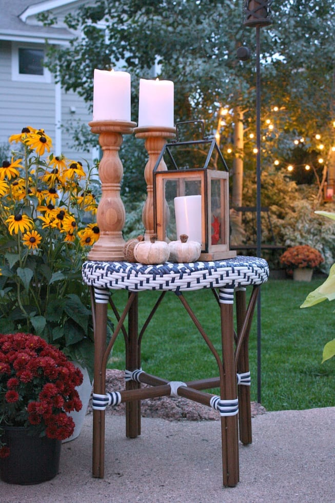 A glow from lights and lanterns in our outdoor space.