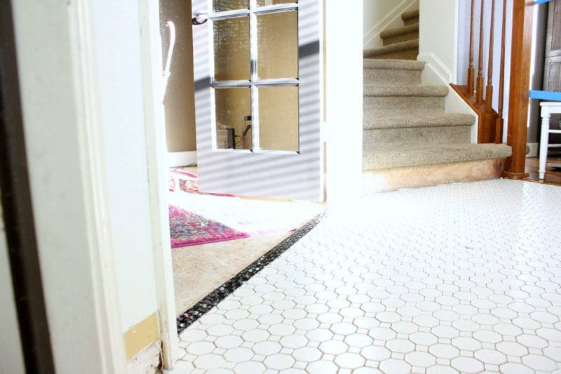 A look at our entryway makeover using Jeffrey Court tile.