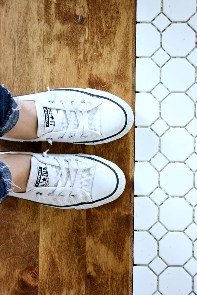 THe contrast of the white tile against the wood makes my heart happy!