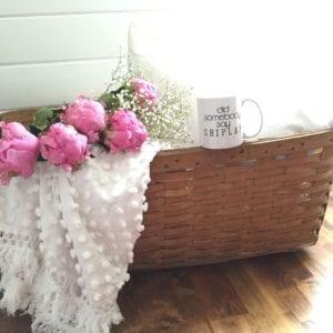 Vintage basket mug chenille quilt flowers