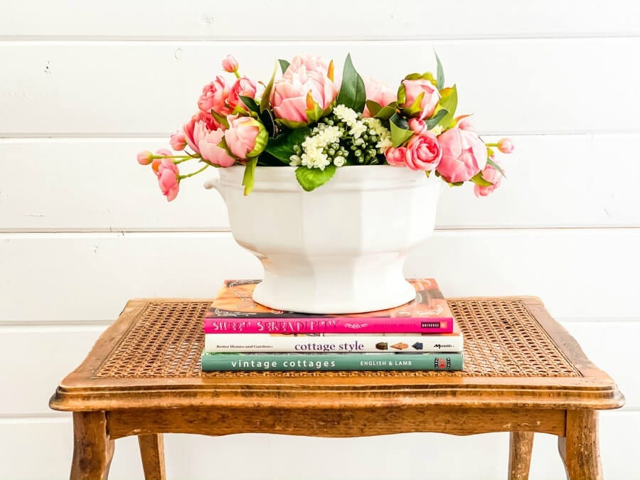 Why not try a faux flower arrangement in a vintage soup tureen?
