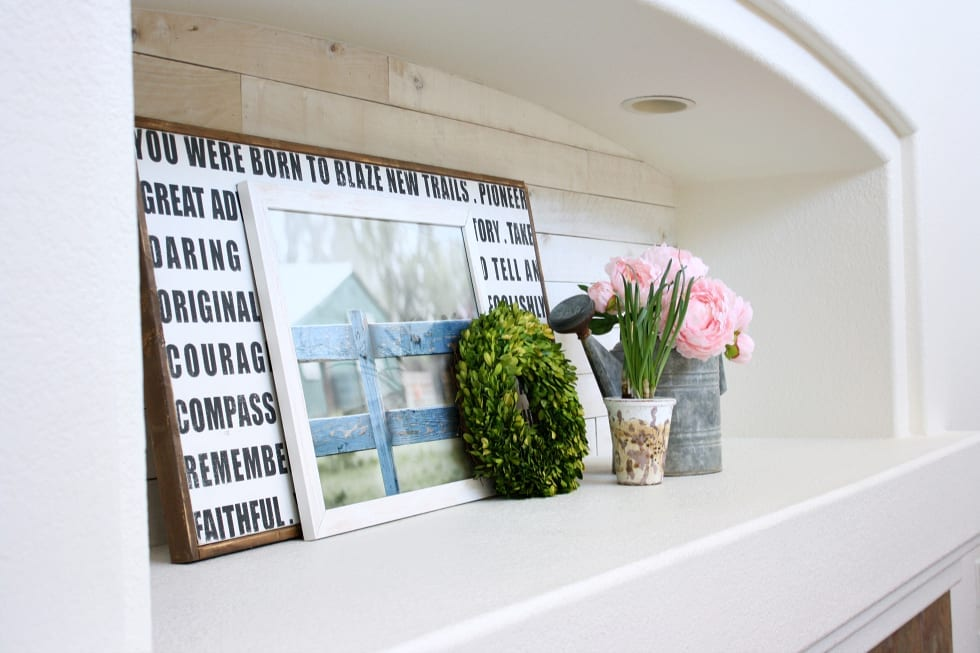 Weaber Lumber 's white washed boards made our niche have instant character and appeal!